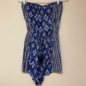 Hollister Romper Shorts Strapless Tassel Blue Med